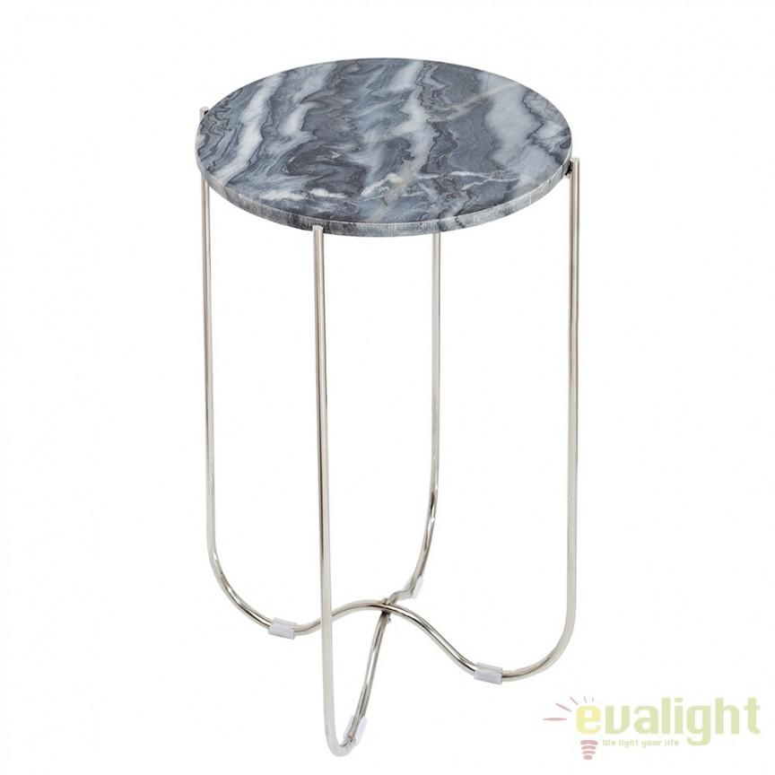 Masuta laterala Noble marmura gri/ argintiu A-38015 VC, Masute de cafea, Corpuri de iluminat, lustre, aplice, veioze, lampadare, plafoniere. Mobilier si decoratiuni, oglinzi, scaune, fotolii. Oferte speciale iluminat interior si exterior. Livram in toata tara.  a