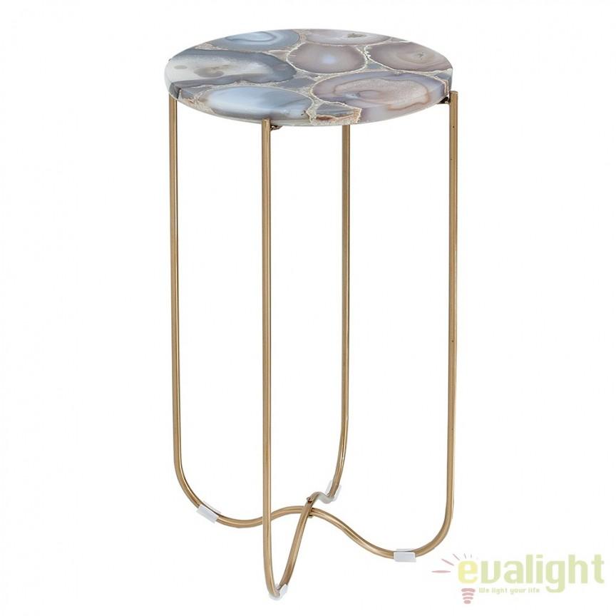 Masuta design unicat Onyx agat albastru/ auriu A-38016 VC, Masute de cafea, Corpuri de iluminat, lustre, aplice, veioze, lampadare, plafoniere. Mobilier si decoratiuni, oglinzi, scaune, fotolii. Oferte speciale iluminat interior si exterior. Livram in toata tara.  a