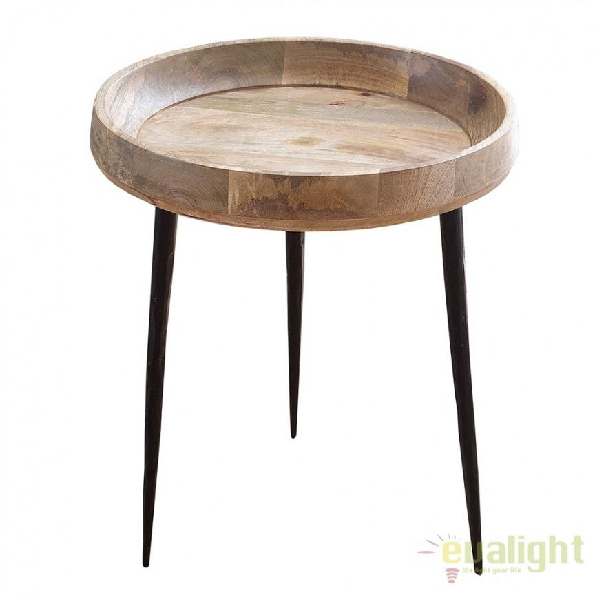 Masuta moderna din metal si lemn, Pure Nature Mango 47cm A-38017 VC, Masute de cafea, Corpuri de iluminat, lustre, aplice, veioze, lampadare, plafoniere. Mobilier si decoratiuni, oglinzi, scaune, fotolii. Oferte speciale iluminat interior si exterior. Livram in toata tara.  a