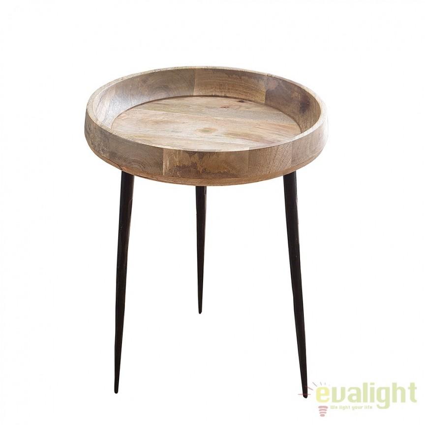 Masuta moderna din metal si lemn, Pure Nature Mango 36cm A-38018 VC, Masute de cafea, Corpuri de iluminat, lustre, aplice, veioze, lampadare, plafoniere. Mobilier si decoratiuni, oglinzi, scaune, fotolii. Oferte speciale iluminat interior si exterior. Livram in toata tara.  a