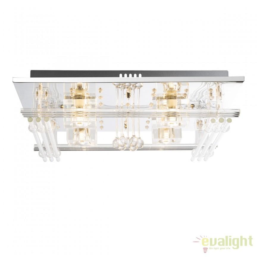 Lustra LED cu telecomanda iluminat RGB Pacaya 68194-4 GL, Lampi LED si Telecomanda, Corpuri de iluminat, lustre, aplice, veioze, lampadare, plafoniere. Mobilier si decoratiuni, oglinzi, scaune, fotolii. Oferte speciale iluminat interior si exterior. Livram in toata tara.  a