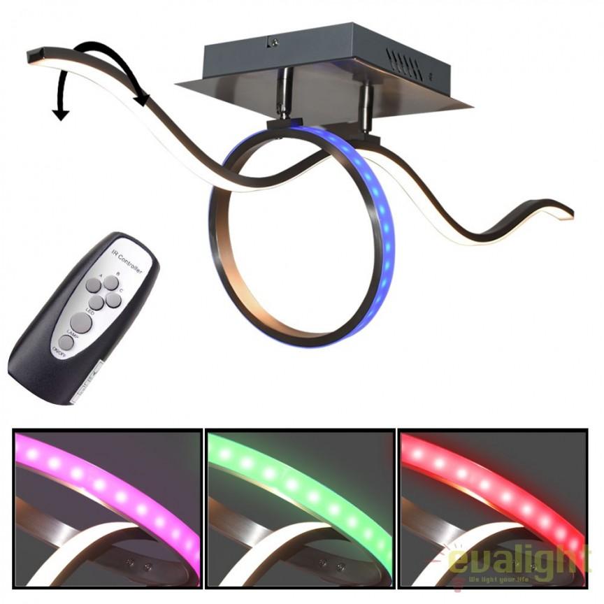 Lustra LED cu telecomanda iluminat RGB Kalinda 67830-18 GL, Lampi LED si Telecomanda, Corpuri de iluminat, lustre, aplice, veioze, lampadare, plafoniere. Mobilier si decoratiuni, oglinzi, scaune, fotolii. Oferte speciale iluminat interior si exterior. Livram in toata tara.  a