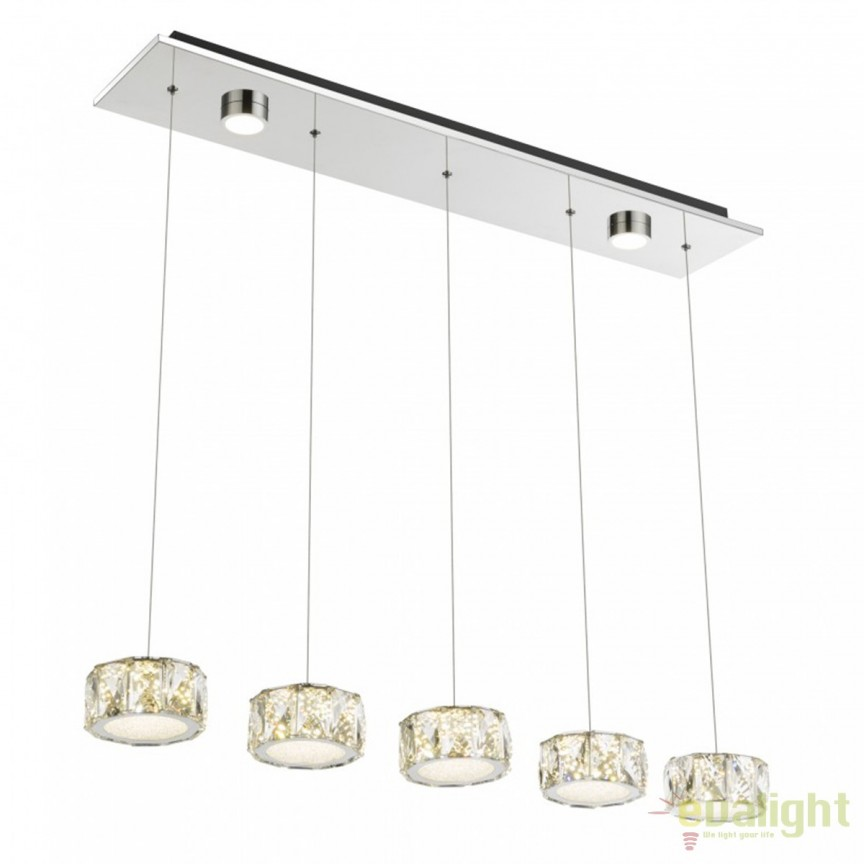Lustra LED cu 5 pendule Amur 49350-52H GL, Lampi LED si Telecomanda, Corpuri de iluminat, lustre, aplice, veioze, lampadare, plafoniere. Mobilier si decoratiuni, oglinzi, scaune, fotolii. Oferte speciale iluminat interior si exterior. Livram in toata tara.  a