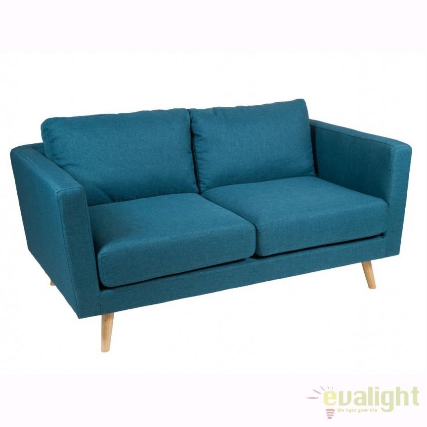 Canapea 2 locuri, fixa, design nordic Tenas albastru 52400 SAP, Canapele - Coltare, Corpuri de iluminat, lustre, aplice, veioze, lampadare, plafoniere. Mobilier si decoratiuni, oglinzi, scaune, fotolii. Oferte speciale iluminat interior si exterior. Livram in toata tara.  a