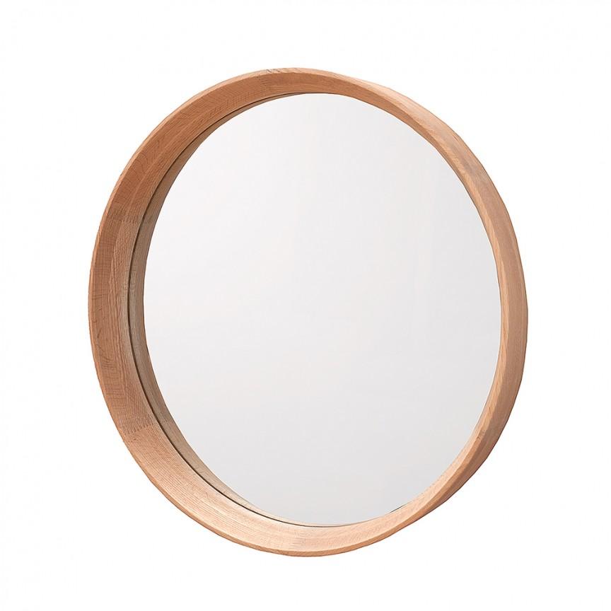 Oglinda de perete rotunda cu lemn de stejar, Oak 53cm A-37688 VC, Oglinzi decorative, Corpuri de iluminat, lustre, aplice, veioze, lampadare, plafoniere. Mobilier si decoratiuni, oglinzi, scaune, fotolii. Oferte speciale iluminat interior si exterior. Livram in toata tara.  a