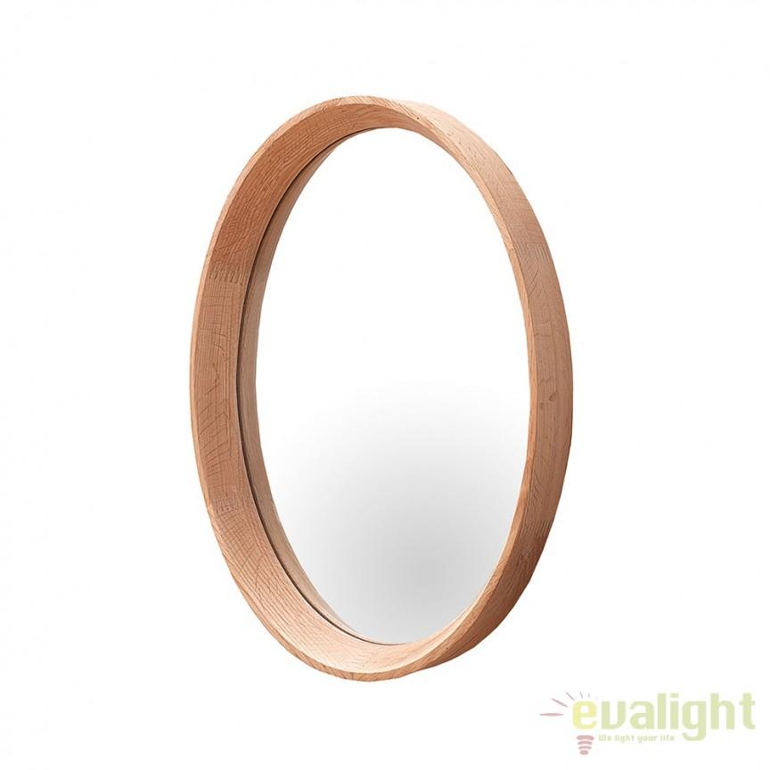 Oglinda de perete ovala cu lemn de stejar, Oak 33x43cm A-37689 VC, Oglinzi decorative, Corpuri de iluminat, lustre, aplice, veioze, lampadare, plafoniere. Mobilier si decoratiuni, oglinzi, scaune, fotolii. Oferte speciale iluminat interior si exterior. Livram in toata tara.  a