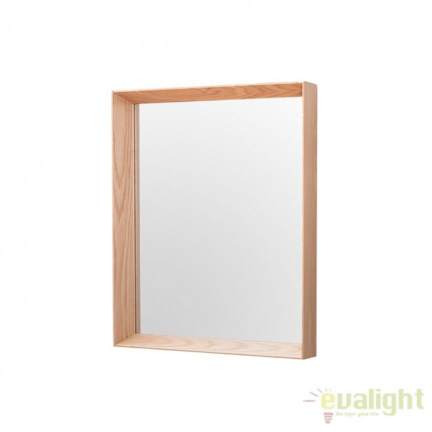 Oglinda de perete cu lemn de stejar, Oak 44x54cm A-37690 VC, Oglinzi decorative, Corpuri de iluminat, lustre, aplice, veioze, lampadare, plafoniere. Mobilier si decoratiuni, oglinzi, scaune, fotolii. Oferte speciale iluminat interior si exterior. Livram in toata tara.  a