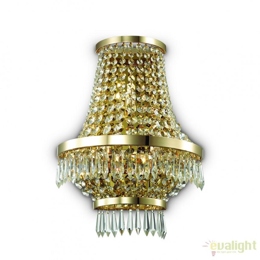 Aplica eleganta cu cristal venetian CAESAR AP3 ORO 137704, Aplice de perete moderne, Corpuri de iluminat, lustre, aplice, veioze, lampadare, plafoniere. Mobilier si decoratiuni, oglinzi, scaune, fotolii. Oferte speciale iluminat interior si exterior. Livram in toata tara.  a