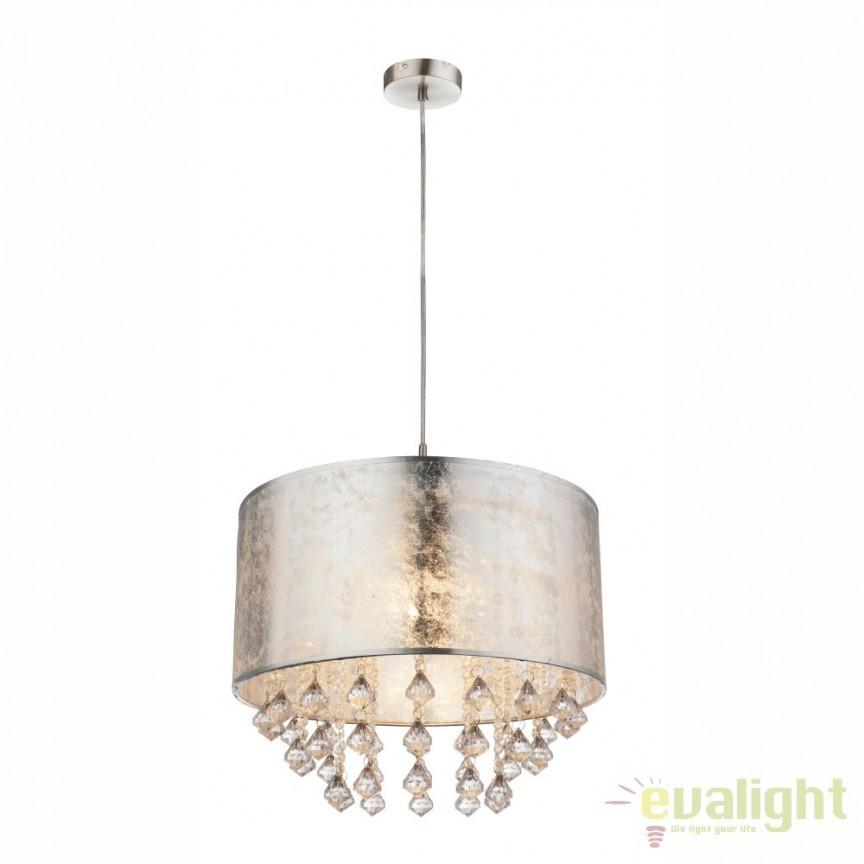 Lustra / Pendul design modern Amy argintiu 15188H3 GL, Promotii si Reduceri⭐ Oferte ✅Corpuri de iluminat ✅Lustre ✅Mobila ✅Decoratiuni de interior si exterior.⭕Pret redus online➜Lichidari de stoc❗ Magazin ➽ www.evalight.ro. a