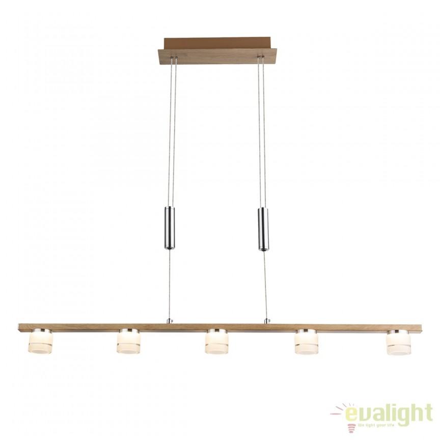 Lustra LED design modern cu inaltime reglabila Alonis 56000-5H GL, Lustre LED, Pendule LED, Corpuri de iluminat, lustre, aplice, veioze, lampadare, plafoniere. Mobilier si decoratiuni, oglinzi, scaune, fotolii. Oferte speciale iluminat interior si exterior. Livram in toata tara.  a
