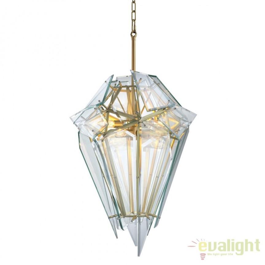 Candelabru design LUX Shard auriu/ transparent 111877 HZ, Candelabre, Lustre moderne, Corpuri de iluminat, lustre, aplice, veioze, lampadare, plafoniere. Mobilier si decoratiuni, oglinzi, scaune, fotolii. Oferte speciale iluminat interior si exterior. Livram in toata tara.  a