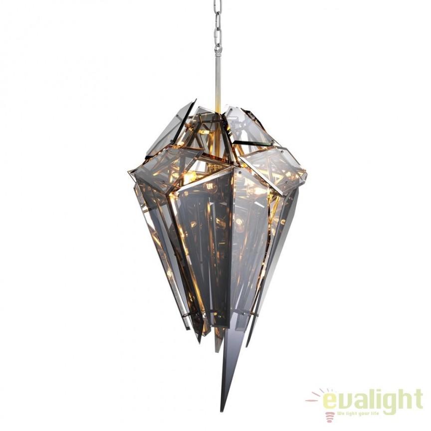 Candelabru design LUX Shard nickel/ fumuriu 111878 HZ, Candelabre, Lustre moderne, Corpuri de iluminat, lustre, aplice, veioze, lampadare, plafoniere. Mobilier si decoratiuni, oglinzi, scaune, fotolii. Oferte speciale iluminat interior si exterior. Livram in toata tara.  a