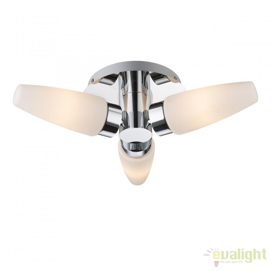 Plafoniera baie IP44 design modern Piton 78160-3D GL, Plafoniere cu protectie pentru baie, Corpuri de iluminat, lustre, aplice, veioze, lampadare, plafoniere. Mobilier si decoratiuni, oglinzi, scaune, fotolii. Oferte speciale iluminat interior si exterior. Livram in toata tara.  a
