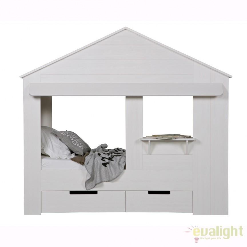 Pat pentru copii in forma de casuta Huisie 550228-W EEH, Paturi - Noptiere dormitor, Corpuri de iluminat, lustre, aplice, veioze, lampadare, plafoniere. Mobilier si decoratiuni, oglinzi, scaune, fotolii. Oferte speciale iluminat interior si exterior. Livram in toata tara.  a