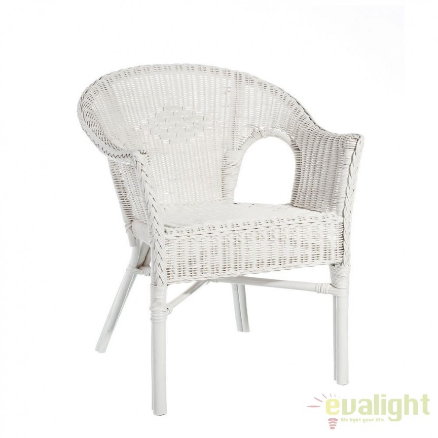 Set de 2 scaune design rustic Rattan I, alb SX-101454, Seturi scaune dining, scaune HoReCa, Corpuri de iluminat, lustre, aplice, veioze, lampadare, plafoniere. Mobilier si decoratiuni, oglinzi, scaune, fotolii. Oferte speciale iluminat interior si exterior. Livram in toata tara.  a