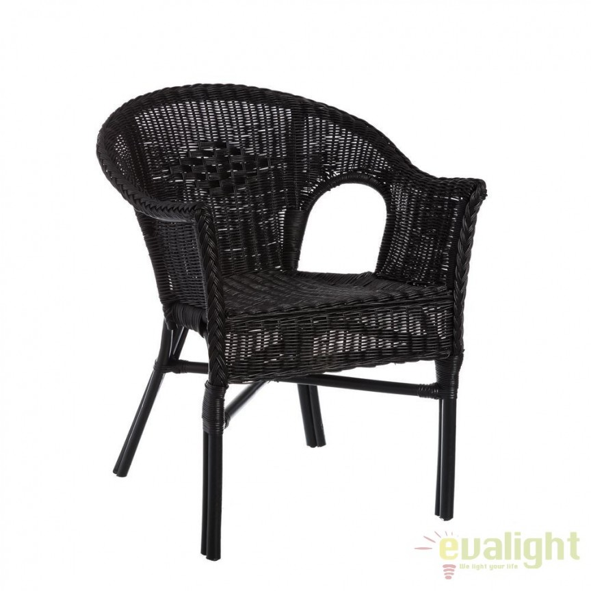 Set de 2 scaune design rustic Rattan I, negru SX-101455, Seturi scaune dining, scaune HoReCa, Corpuri de iluminat, lustre, aplice, veioze, lampadare, plafoniere. Mobilier si decoratiuni, oglinzi, scaune, fotolii. Oferte speciale iluminat interior si exterior. Livram in toata tara.  a