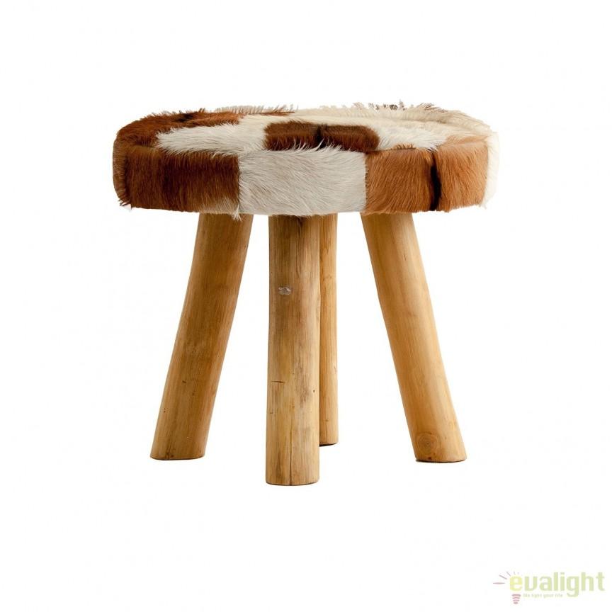 Taburete cu picioare din lemn si sezut din piele DALLAS 23822 VH, Tabureti - Banci, Corpuri de iluminat, lustre, aplice, veioze, lampadare, plafoniere. Mobilier si decoratiuni, oglinzi, scaune, fotolii. Oferte speciale iluminat interior si exterior. Livram in toata tara.  a