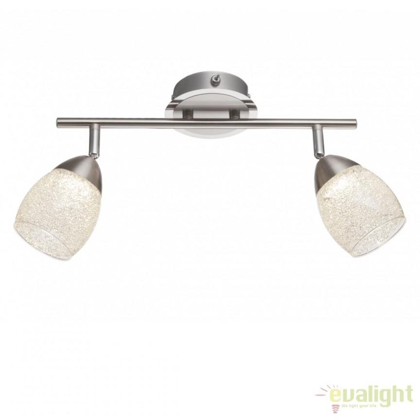 Aplica perete LED moderna cu 2 spoturi nickel mat cu crom 56003-2 GL, Aplice de perete LED, Corpuri de iluminat, lustre, aplice, veioze, lampadare, plafoniere. Mobilier si decoratiuni, oglinzi, scaune, fotolii. Oferte speciale iluminat interior si exterior. Livram in toata tara.  a