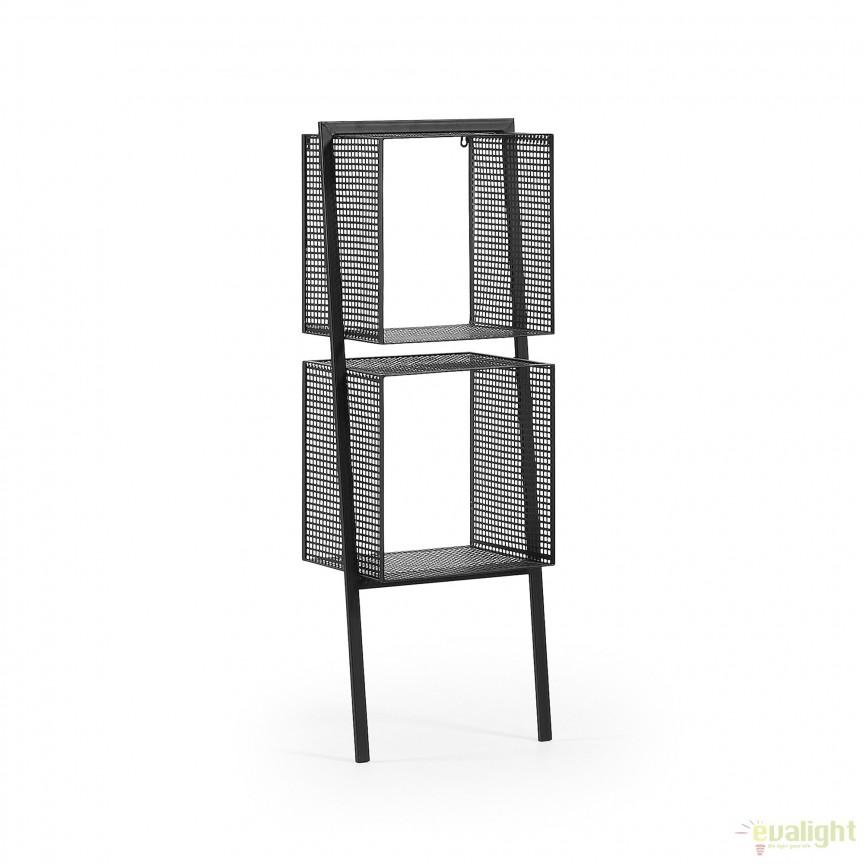Raft negru metalic TULSON AA1665R01 JG, Vitrine - Rafturi, Corpuri de iluminat, lustre, aplice, veioze, lampadare, plafoniere. Mobilier si decoratiuni, oglinzi, scaune, fotolii. Oferte speciale iluminat interior si exterior. Livram in toata tara.  a