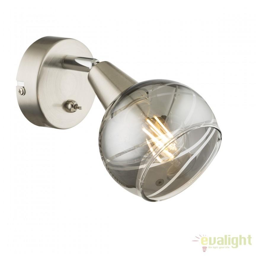 Aplica de perete LED design modern Roman 54348-1 GL, Cele mai vandute Corpuri de iluminat, lustre, aplice, veioze, lampadare, plafoniere. Mobilier si decoratiuni, oglinzi, scaune, fotolii. Oferte speciale iluminat interior si exterior. Livram in toata tara.  a