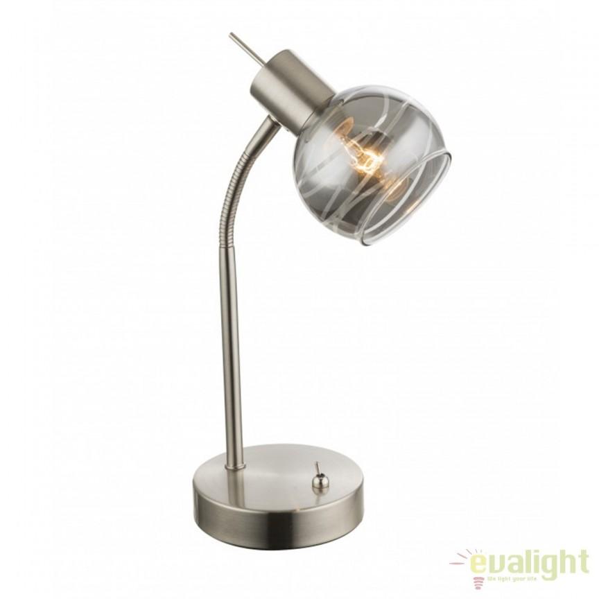Veioza LED / Lampa de masa design modern Roman 54348-1T GL, Veioze LED, Lampadare LED, Corpuri de iluminat, lustre, aplice, veioze, lampadare, plafoniere. Mobilier si decoratiuni, oglinzi, scaune, fotolii. Oferte speciale iluminat interior si exterior. Livram in toata tara.  a