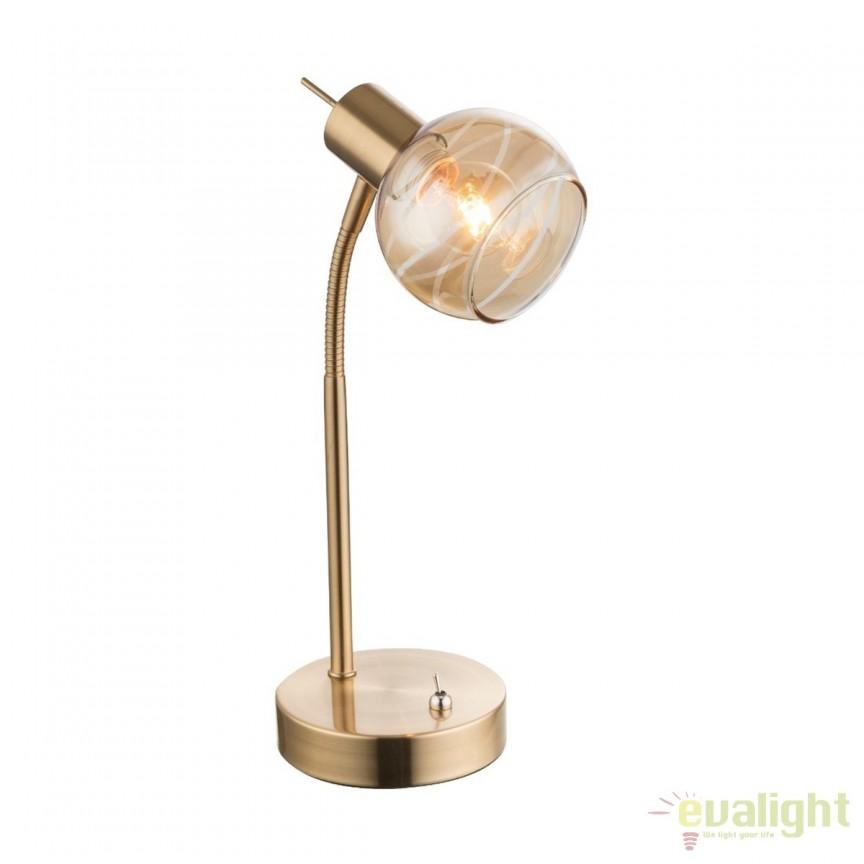 Veioza LED / Lampa de masa design modern Lara 54346-1T GL, Veioze LED, Lampadare LED, Corpuri de iluminat, lustre, aplice, veioze, lampadare, plafoniere. Mobilier si decoratiuni, oglinzi, scaune, fotolii. Oferte speciale iluminat interior si exterior. Livram in toata tara.  a