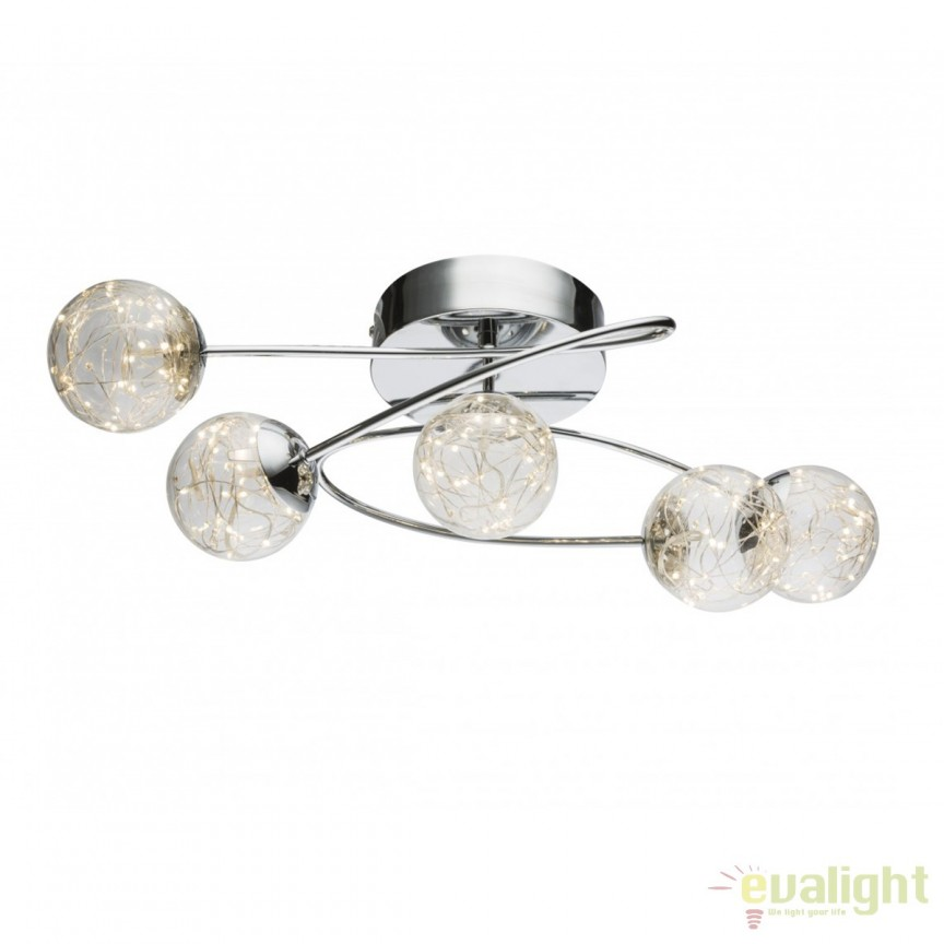 Lustra LED aplicata design modern XMAS 5L 56804-5 GL, Spoturi - iluminat - cu 5 si 6 spoturi, Corpuri de iluminat, lustre, aplice, veioze, lampadare, plafoniere. Mobilier si decoratiuni, oglinzi, scaune, fotolii. Oferte speciale iluminat interior si exterior. Livram in toata tara.  a