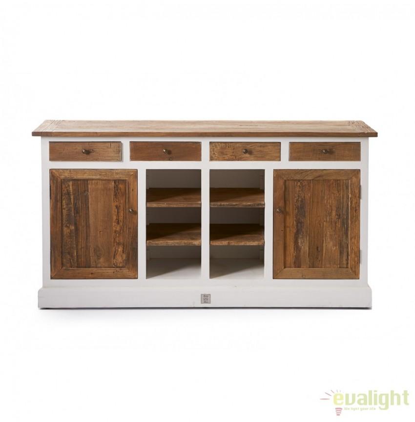 Comoda design vintage din lemn de plop si lemn reciclat, Driftwood 236750RM, Dulapuri - Comode, Corpuri de iluminat, lustre, aplice, veioze, lampadare, plafoniere. Mobilier si decoratiuni, oglinzi, scaune, fotolii. Oferte speciale iluminat interior si exterior. Livram in toata tara.  a