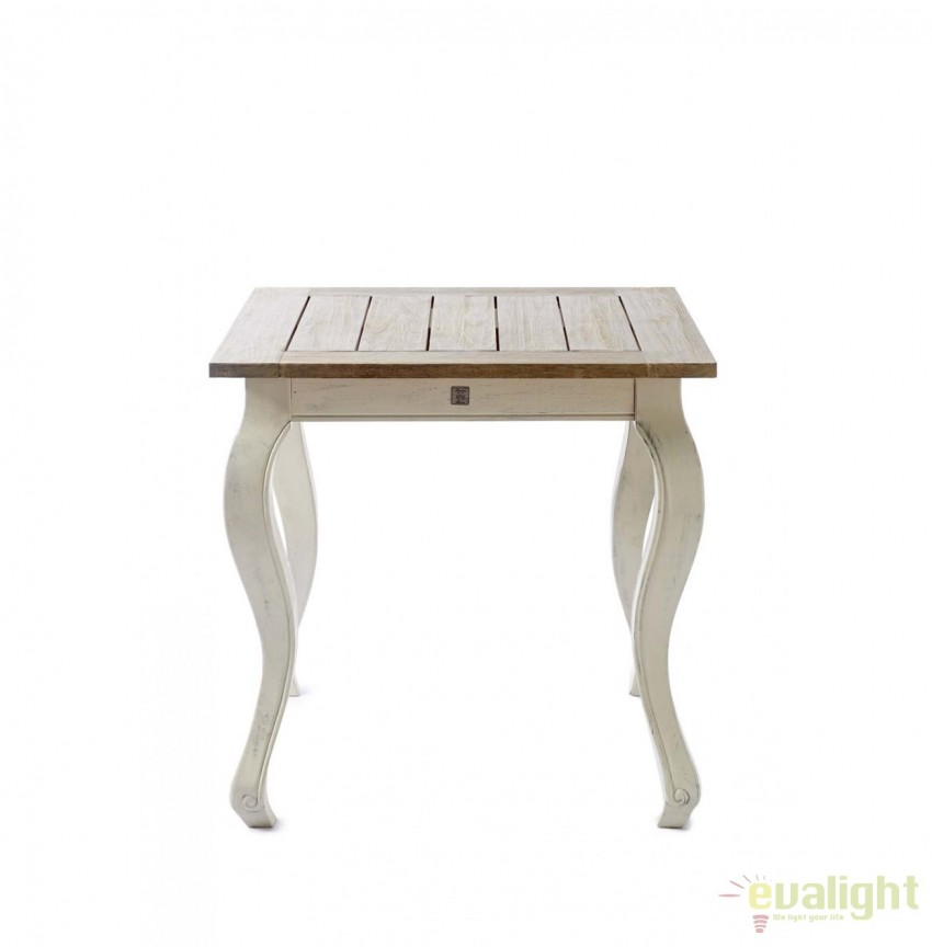 Masa din lemn pentru interior si exterior, Driftwood, 80x80cm 287330RM, Mese dining, Corpuri de iluminat, lustre, aplice, veioze, lampadare, plafoniere. Mobilier si decoratiuni, oglinzi, scaune, fotolii. Oferte speciale iluminat interior si exterior. Livram in toata tara.  a