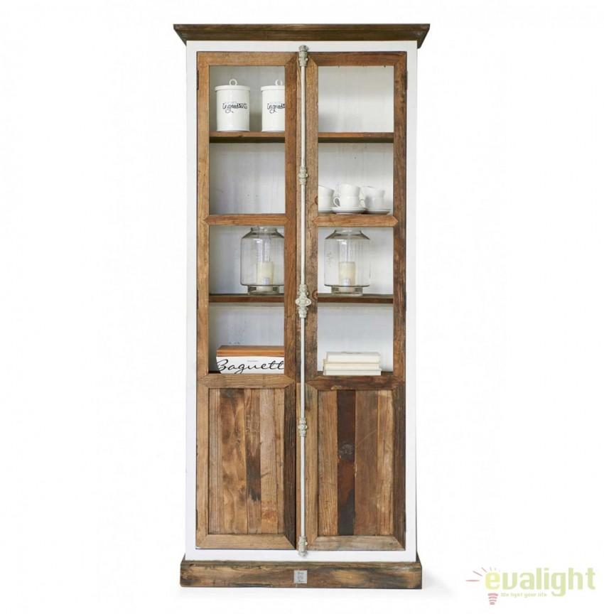 Vitrina design vintage din lemn de plop si lemn reciclat, Driftwood 290850RM, Vitrine - Rafturi, Corpuri de iluminat, lustre, aplice, veioze, lampadare, plafoniere. Mobilier si decoratiuni, oglinzi, scaune, fotolii. Oferte speciale iluminat interior si exterior. Livram in toata tara.  a