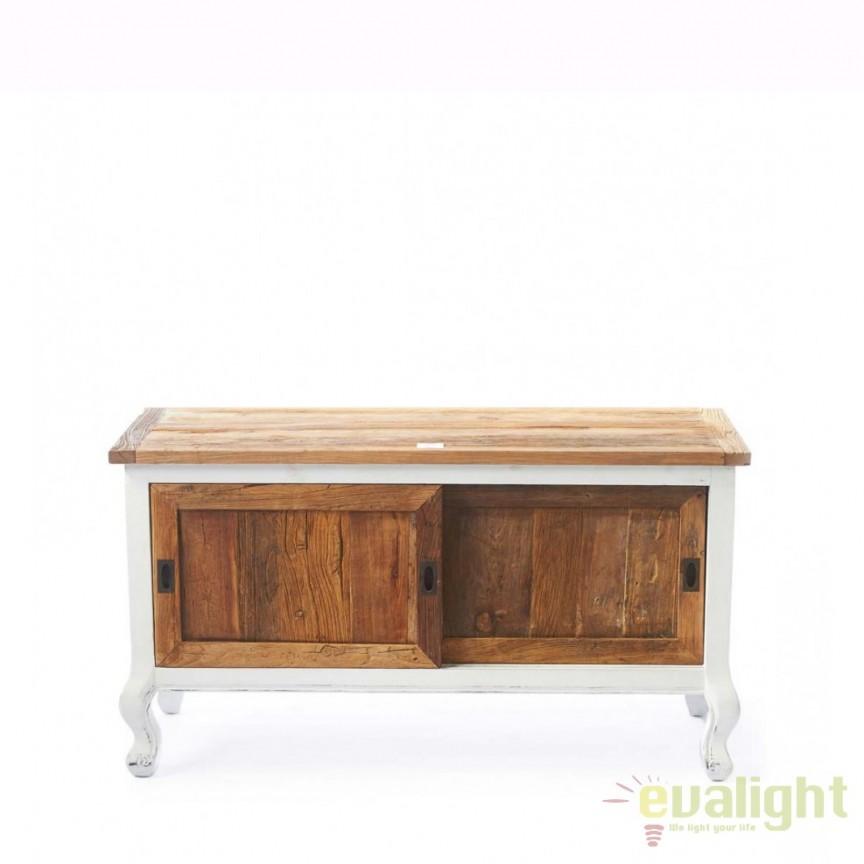 Comoda TV design vintage din lemn de plop si lemn reciclat, Driftwood 294610RM, Dulapuri - Comode, Corpuri de iluminat, lustre, aplice, veioze, lampadare, plafoniere. Mobilier si decoratiuni, oglinzi, scaune, fotolii. Oferte speciale iluminat interior si exterior. Livram in toata tara.  a