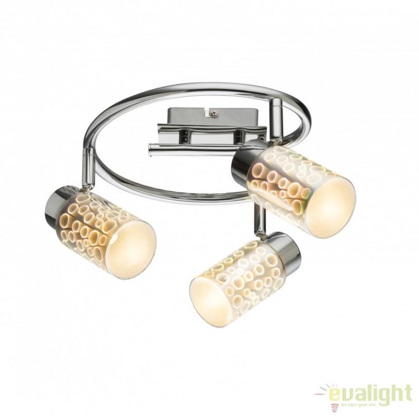 Plafoniera LED moderna Oku 3L 56124-3 GL , Spoturi - iluminat - cu 3 spoturi, Corpuri de iluminat, lustre, aplice, veioze, lampadare, plafoniere. Mobilier si decoratiuni, oglinzi, scaune, fotolii. Oferte speciale iluminat interior si exterior. Livram in toata tara.  a