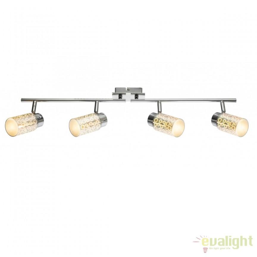 Plafoniera LED moderna Oku 4L 56124-4 GL , Spoturi - iluminat - cu 4 spoturi, Corpuri de iluminat, lustre, aplice, veioze, lampadare, plafoniere. Mobilier si decoratiuni, oglinzi, scaune, fotolii. Oferte speciale iluminat interior si exterior. Livram in toata tara.  a