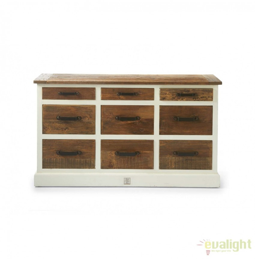 Comoda design vintage din lemn reciclat Redington 296820RM, Dulapuri - Comode, Corpuri de iluminat, lustre, aplice, veioze, lampadare, plafoniere. Mobilier si decoratiuni, oglinzi, scaune, fotolii. Oferte speciale iluminat interior si exterior. Livram in toata tara.  a