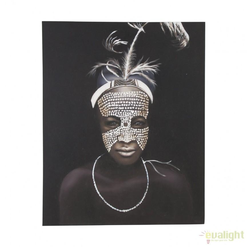 Tablou decorativ, imagine imprimata pe panza Mujer Mascara, 120x150cm 21820 VH, Tablouri decorative, Corpuri de iluminat, lustre, aplice, veioze, lampadare, plafoniere. Mobilier si decoratiuni, oglinzi, scaune, fotolii. Oferte speciale iluminat interior si exterior. Livram in toata tara.  a