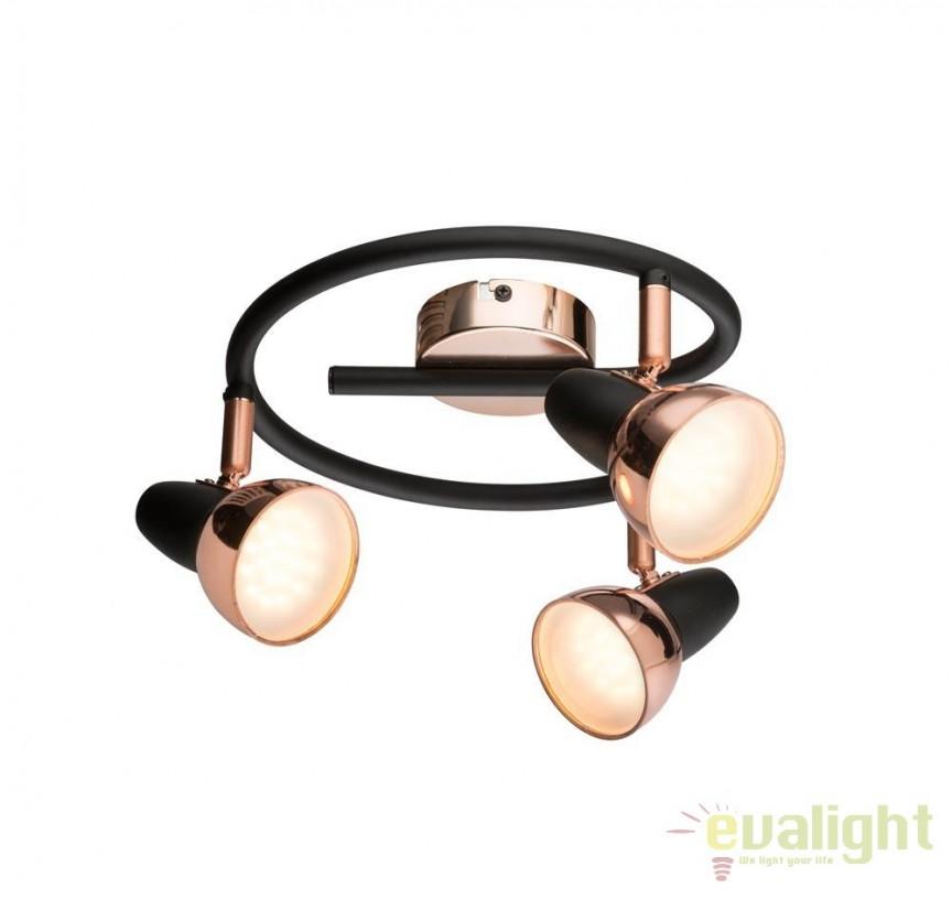 Plafoniera LED design modern Tobi 3L 56117-3 GL, ILUMINAT INTERIOR LED , Corpuri de iluminat, lustre, aplice, veioze, lampadare, plafoniere. Mobilier si decoratiuni, oglinzi, scaune, fotolii. Oferte speciale iluminat interior si exterior. Livram in toata tara.  a