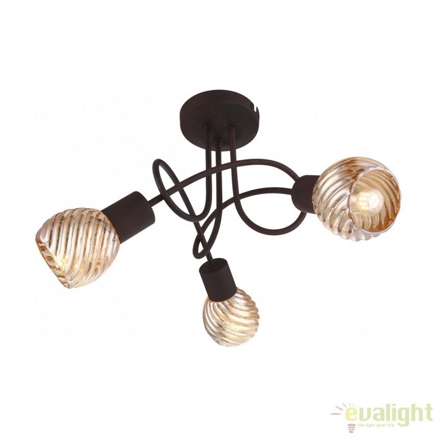 Lustra aplicata Becky 3L 54644-3DO GL, Plafoniere, Spots, Corpuri de iluminat, lustre, aplice, veioze, lampadare, plafoniere. Mobilier si decoratiuni, oglinzi, scaune, fotolii. Oferte speciale iluminat interior si exterior. Livram in toata tara.  a