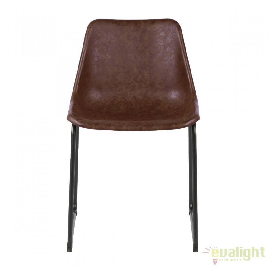 Set de 2 scaune din metal negru si piele sintetica Jet, maro vintage 375459-B EEH, Seturi scaune dining, scaune HoReCa, Corpuri de iluminat, lustre, aplice, veioze, lampadare, plafoniere. Mobilier si decoratiuni, oglinzi, scaune, fotolii. Oferte speciale iluminat interior si exterior. Livram in toata tara.  a