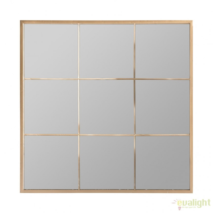 Oglinda decorativa design fereastra din metal auriu Alyna, 80x80cm 24820 VH, Oglinzi decorative,  a