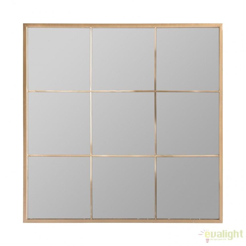 Oglinda decorativa din metal auriu Alyna, 80x80cm 24820 VH, Oglinzi decorative, Corpuri de iluminat, lustre, aplice, veioze, lampadare, plafoniere. Mobilier si decoratiuni, oglinzi, scaune, fotolii. Oferte speciale iluminat interior si exterior. Livram in toata tara.  a