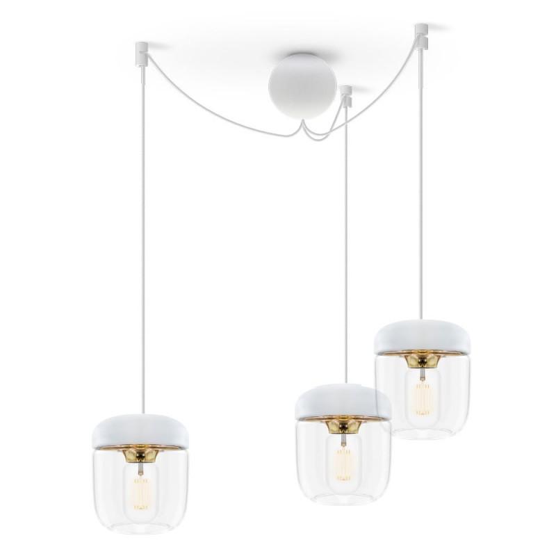 Lustra cu 3 pendule design minimalist Acorn alama/ alb,  a