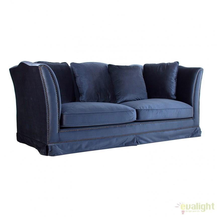 Canapea fixa eleganta design LUX JULIET, albastru 23408 VH, Canapele - Coltare, Corpuri de iluminat, lustre, aplice, veioze, lampadare, plafoniere. Mobilier si decoratiuni, oglinzi, scaune, fotolii. Oferte speciale iluminat interior si exterior. Livram in toata tara.  a