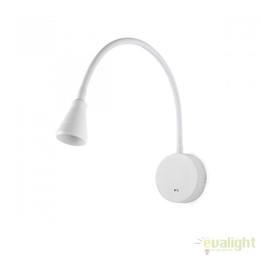 Aplica cu reader LED stil modern minimalist BEL alba 41029 , Aplice de perete LED, Corpuri de iluminat, lustre, aplice, veioze, lampadare, plafoniere. Mobilier si decoratiuni, oglinzi, scaune, fotolii. Oferte speciale iluminat interior si exterior. Livram in toata tara.  a