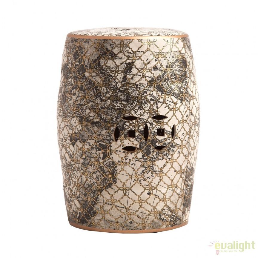 Taburete din ceramica design oriental Dusk 22044 VH, Tabureti - Banci, Corpuri de iluminat, lustre, aplice, veioze, lampadare, plafoniere. Mobilier si decoratiuni, oglinzi, scaune, fotolii. Oferte speciale iluminat interior si exterior. Livram in toata tara.  a