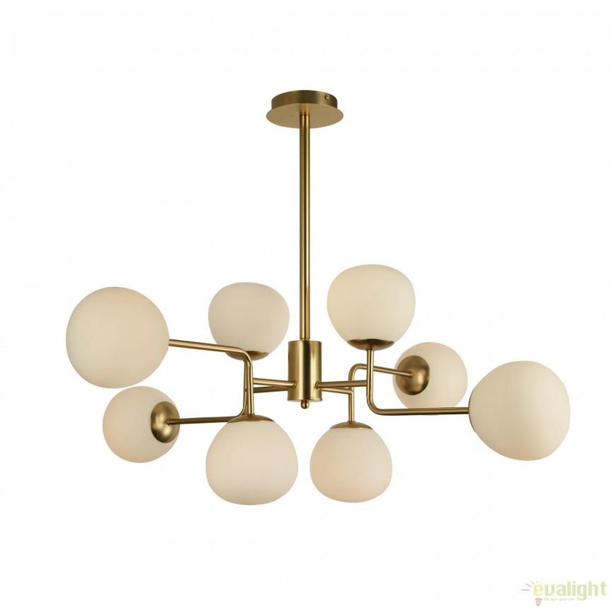 Candelabru design deosebit cu 8 surse de lumina Erich MYMOD221-PL-08-G, Corpuri de iluminat, lustre, aplice, veioze, lampadare, plafoniere. Mobilier si decoratiuni, oglinzi, scaune, fotolii. Oferte speciale iluminat interior si exterior. Livram in toata tara.
