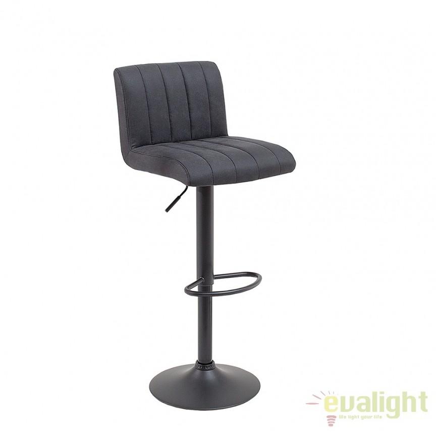 Set de 2 scaune de bar tapitate cu microfibra, Portland gri vintage A-38457 VC, PROMOTII,  a