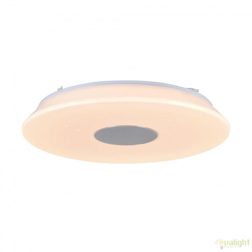Lustra aplicata cu iluminat LED, telecomanda si speaker, Music 60 MYMOD358-CL-01-60W-W , Lampi LED si Telecomanda, Corpuri de iluminat, lustre, aplice, veioze, lampadare, plafoniere. Mobilier si decoratiuni, oglinzi, scaune, fotolii. Oferte speciale iluminat interior si exterior. Livram in toata tara.  a