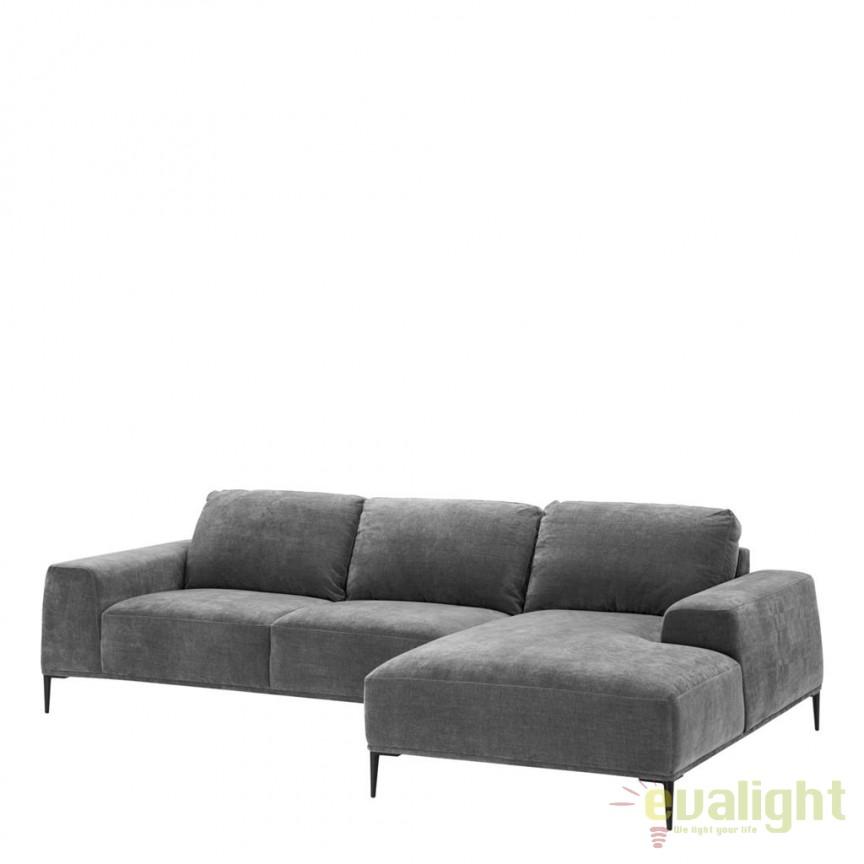 Canapea cu sezlong design LUX Montado gri/ negru 112019 HZ, Canapele - Coltare, Corpuri de iluminat, lustre, aplice, veioze, lampadare, plafoniere. Mobilier si decoratiuni, oglinzi, scaune, fotolii. Oferte speciale iluminat interior si exterior. Livram in toata tara.  a