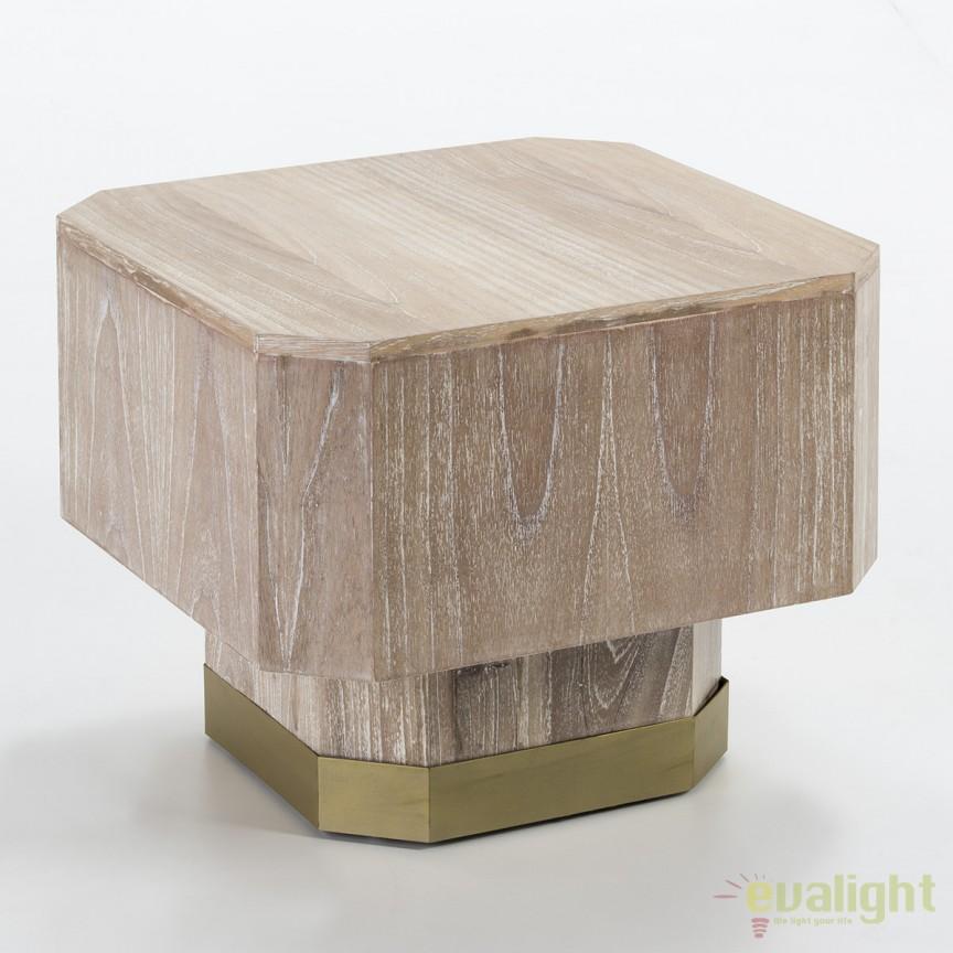 Masuta living design modern Deidra Wood White Washed 60x60cm 26452/00 TN, Masute de cafea, Corpuri de iluminat, lustre, aplice, veioze, lampadare, plafoniere. Mobilier si decoratiuni, oglinzi, scaune, fotolii. Oferte speciale iluminat interior si exterior. Livram in toata tara.  a