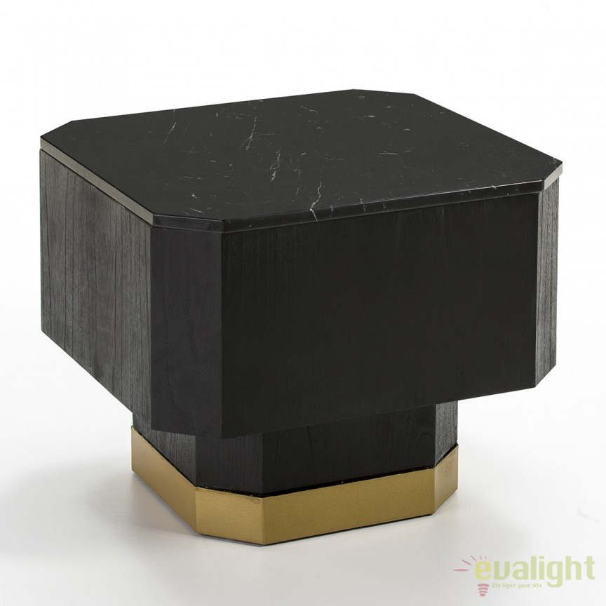 Masuta living design modern Deidra Marble/Wood Black 60x60cm 26453/00 TN, Masute de cafea, Corpuri de iluminat, lustre, aplice, veioze, lampadare, plafoniere. Mobilier si decoratiuni, oglinzi, scaune, fotolii. Oferte speciale iluminat interior si exterior. Livram in toata tara.  a